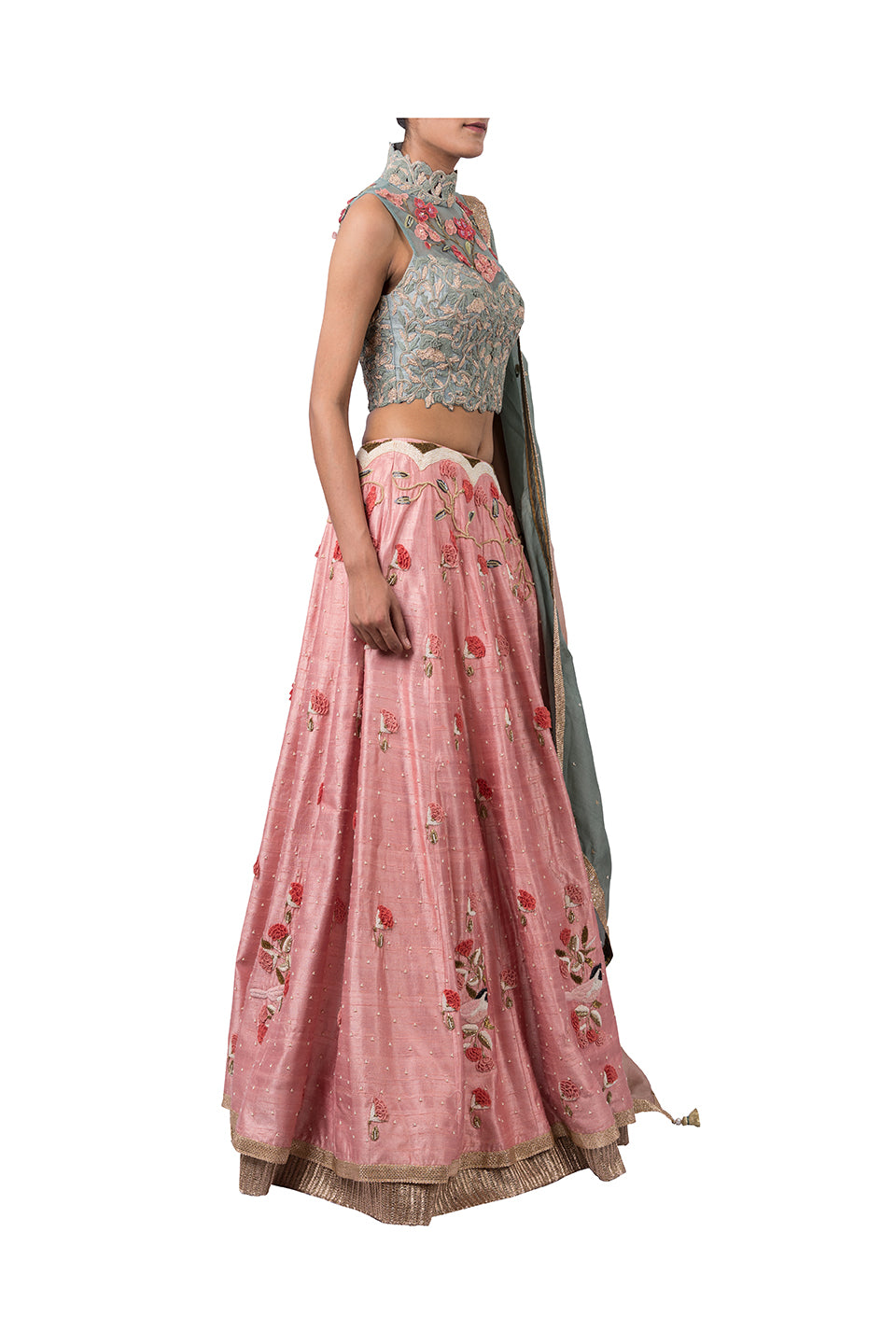DORI HIGH NECK BLOUSE WITH 3D FLOWERS AND HEM BIRD LEHENGA