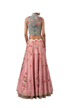 Load image into Gallery viewer, DORI HIGH NECK BLOUSE WITH 3D FLOWERS AND HEM BIRD LEHENGA