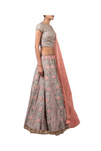 Load image into Gallery viewer, METAL SEQUIN BARFI BLOUSE, DORI MUKESH BEL LEHENGA