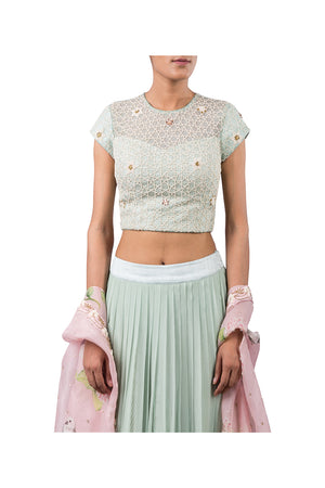 STAR WEB BLOUSE WITH CHIFFON PLEATED PLAZZO AND DIGITAL PINK BIRD CAPE