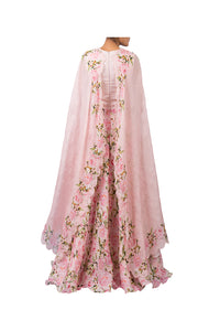 DIGITAL PRINT PEONIES ANARKALI WITH PRINTED PINK CAPE