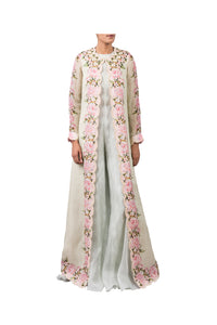 ORGANZA PEONIES LONG JACKET WITH ORGANZA JUMPSUIT