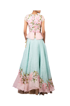 TWO TONE LEHENGA WITH 3 PEARL SCATTER