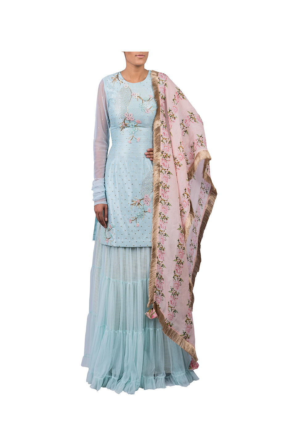 JAPANESE CIRCLE EMBROIDERED SUIT SHARARA