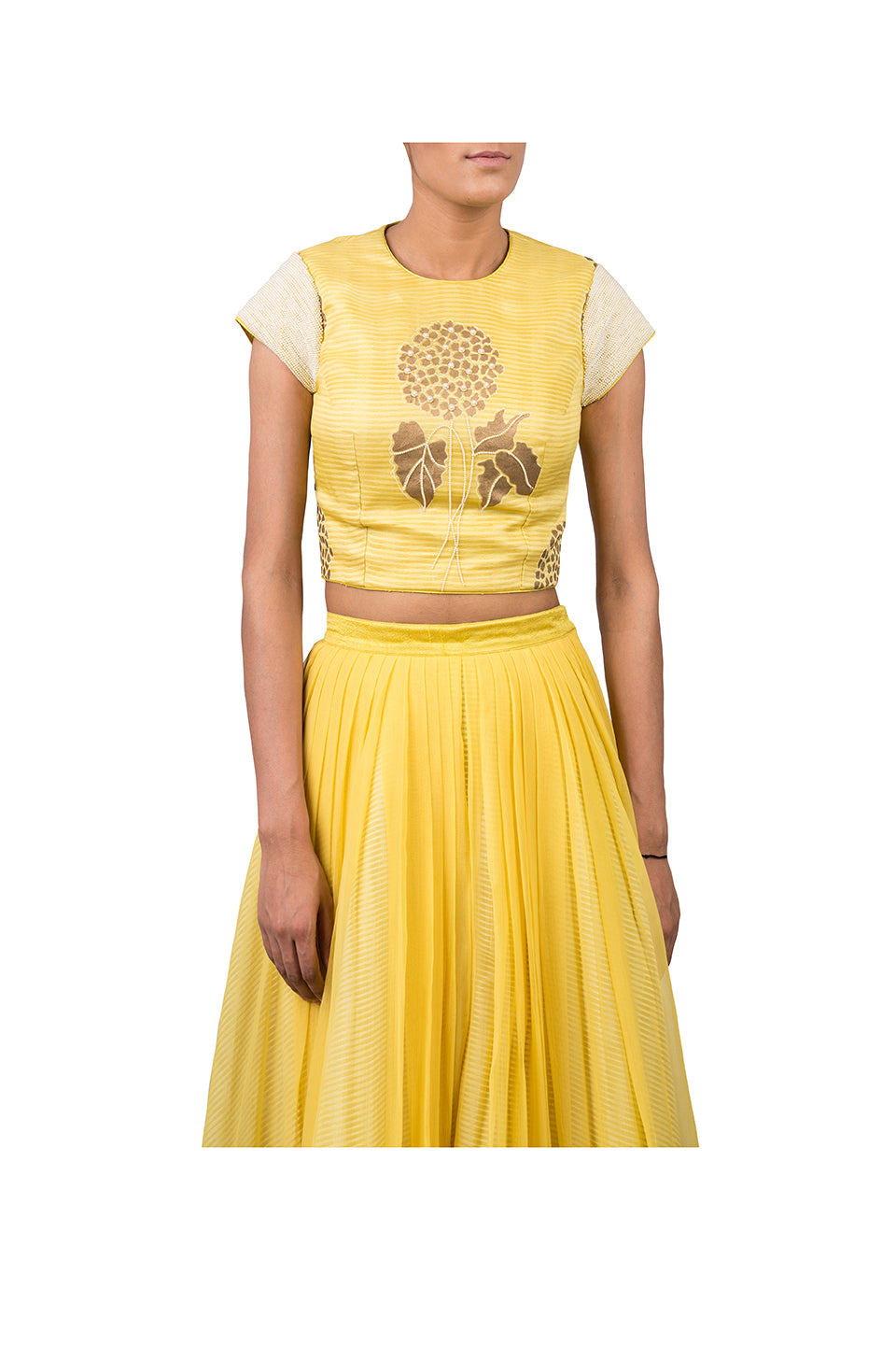 BLOCK PRINTED FOOTBALL LILLY HIGHLIGHTED CROPTOP WITH CHIFFON PLEATED PALAZZO