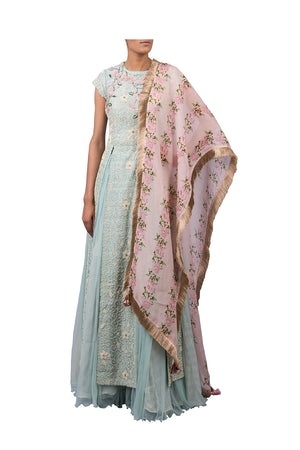 PEARL JAAL RAW SILK LONG JACKET WITH NET SKIRT AND PINK PEONIES STRIPE PRINTED DUPATTA