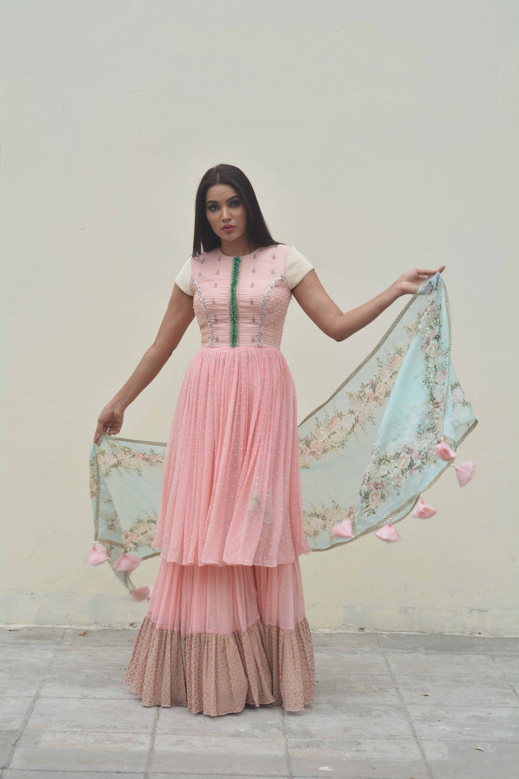 ZARDOZI AND PEARL LAYERED CHIFFON KURTI SET