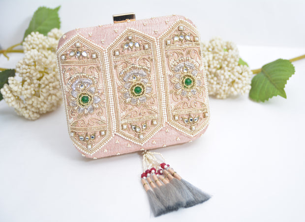 Pink Embroidered Clutch