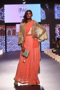 Brick Saree with Cape