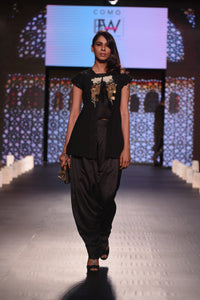 Black Fringes Crop Top with Dhoti Pants