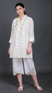 Botanical Embroidered Front Panel with Crochet inlet Sleeves