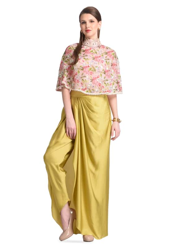FLORAL CAPE WITH COWL DRAPED DHOTI