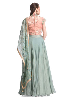 GREEN LEHENGA WITH PRINTED DUPATTA