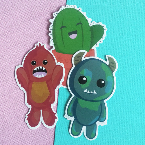 Monster and Cactus Sticker Pack