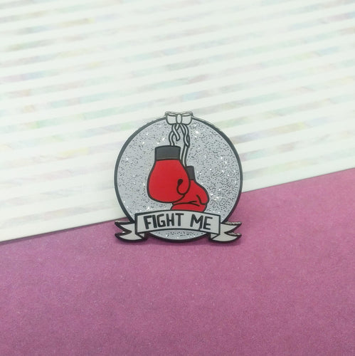 Red Boxing Gloves Fight Me Enamel Pin