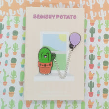 Cactus with Lilac Balloon Enamel Pin