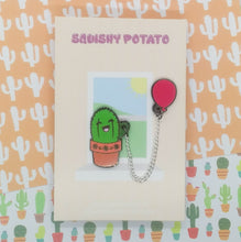 Cactus with Red Balloon Enamel Pin