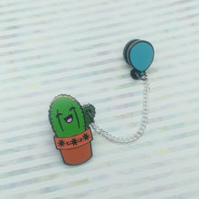 Cactus with Blue Balloon Enamel Pin