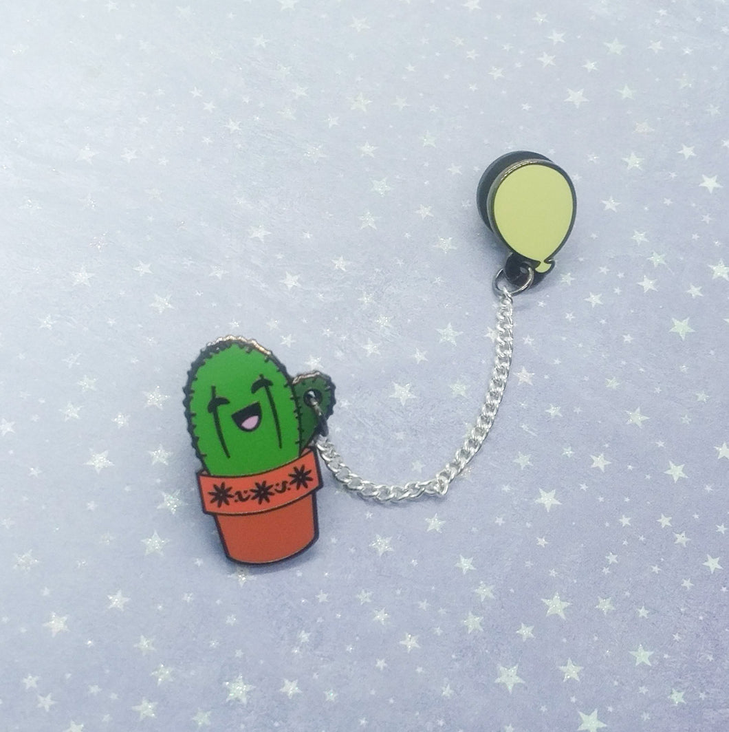 Cactus with Yellow Balloon Enamel Pin