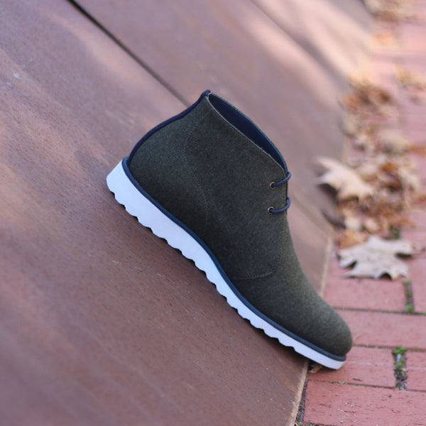 Unique Handcrafted Green/Grey Casual Sports Chukka