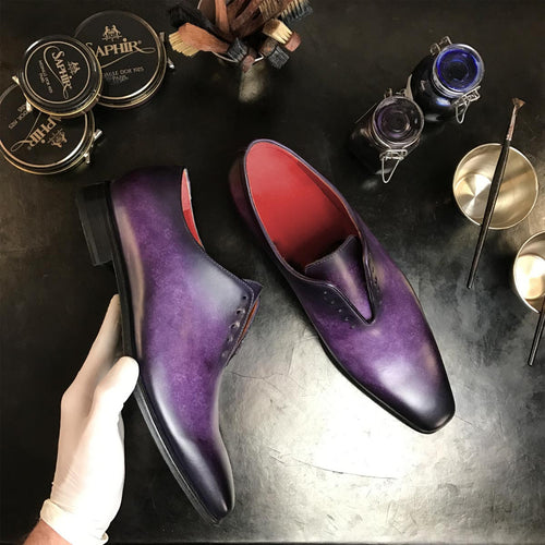 YANG - Unique Handcrafted Whole cut Oxford Dress Shoe w/ purple and black handpainted Patina