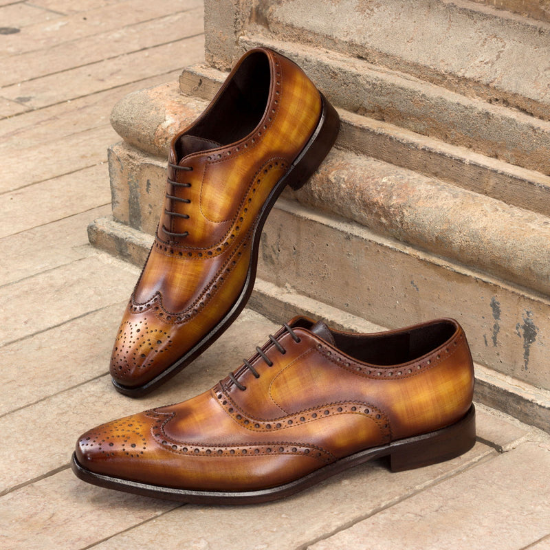 Unique Handcrafted Full Brogue Brown Oxford