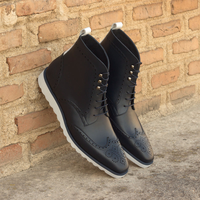 Unique Handcrafted Black Military Style Boot w/ Wedge Sole