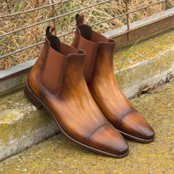 Unique Hand-Painted Cognac Crust Patina Chelsea Boot