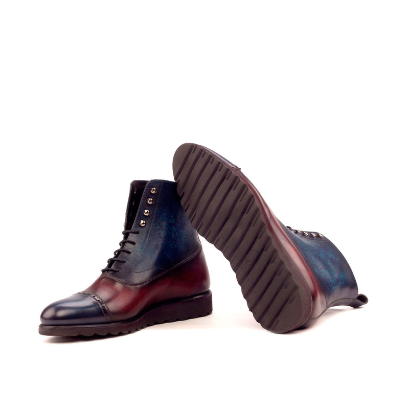 Unique Hand Painted Mixed Blue Patina Balmoral Boot