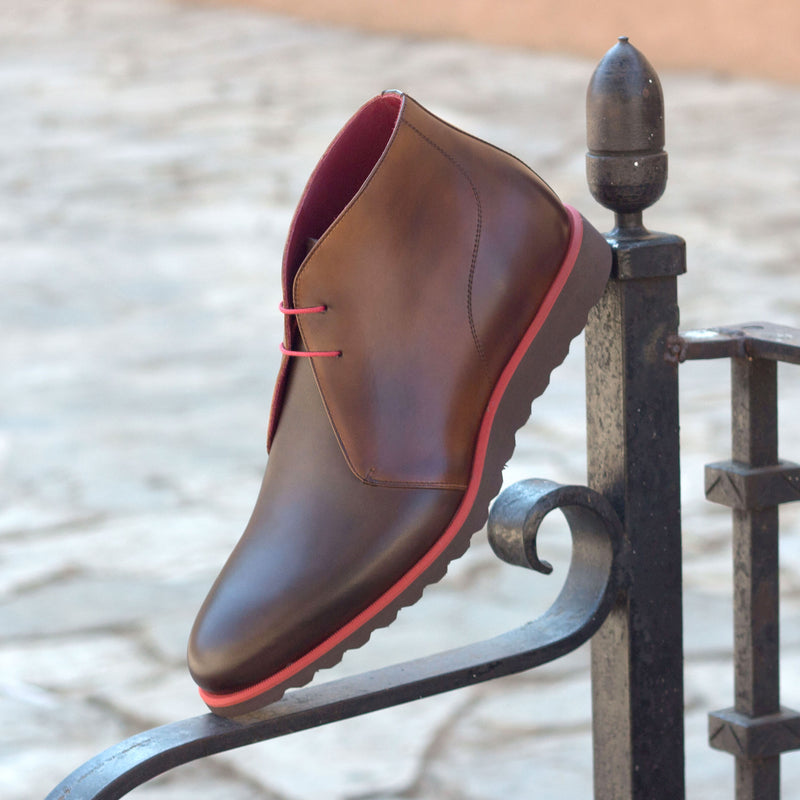Unique Handcrafted Brown Burnish Sports Chukka