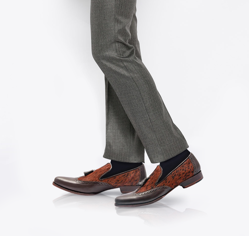 TERTIUS - Unique Handcrafted Brown Penny Loafer with a Twist