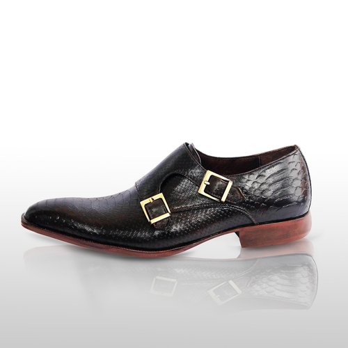SENECA - Unique Handcrafted Black Alligator Embossed Leather Monkstrap