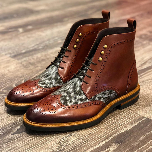 Unique Handcrafted coffee - tweed Military Brogue