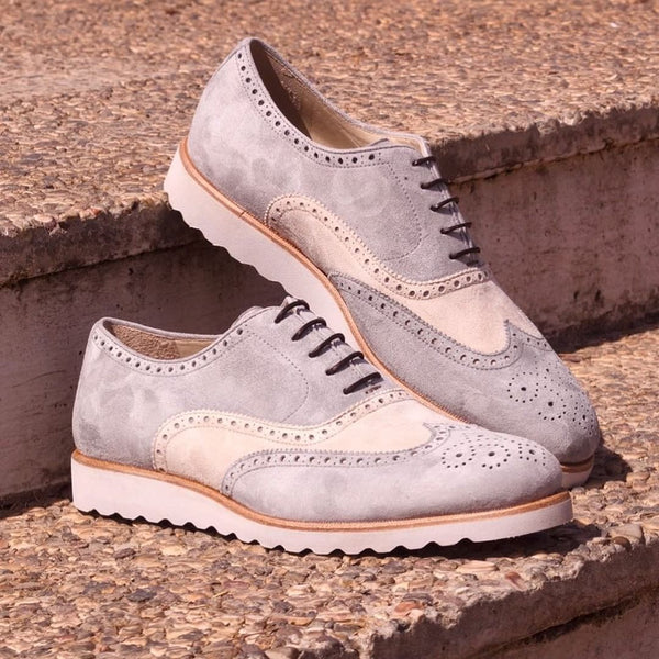Unique Handcrafted Full Brogue Box White-Grey Lux Suede w/ Wedge Sole