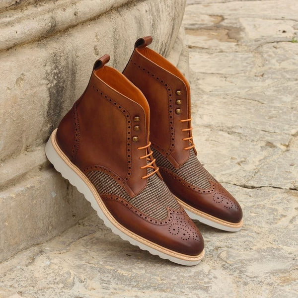 Unique Handcrafted Brown Military Style Boot w/ Wedge Sole