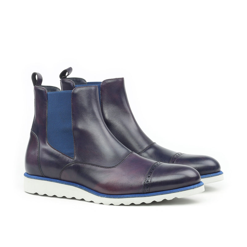 Unique Handcrafted Navy Blue Chelsea Boots w/ Sportwedge Sole