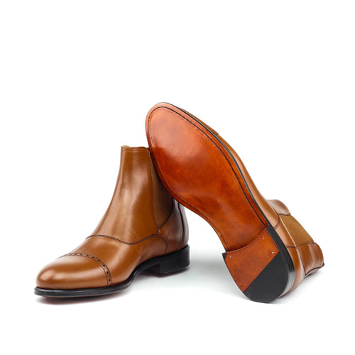 GENGHIS - Unique Handcrafted Golden Brown Chelsea Boot