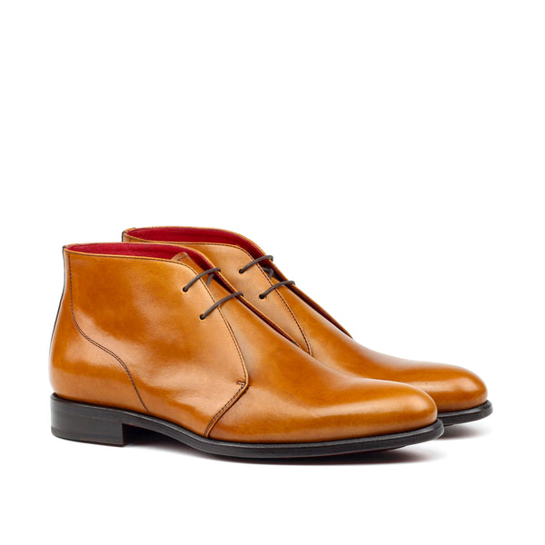 MARCUS E. - Unique Handcrafted Golden Brown Slick Polished Calf Leather Chukka Boot