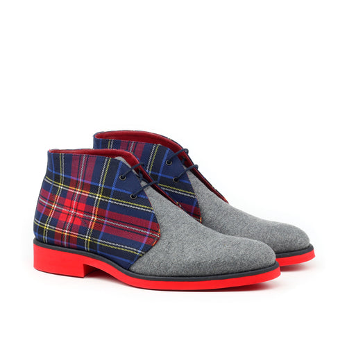 Unique Handcrafted Flannel Grey Chukka Boot Aka Red Soles