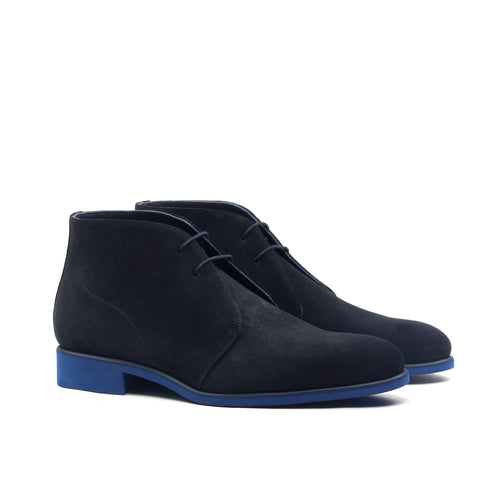 Unique Handcrafted Navy Blue Lux Suede Chukka Boot