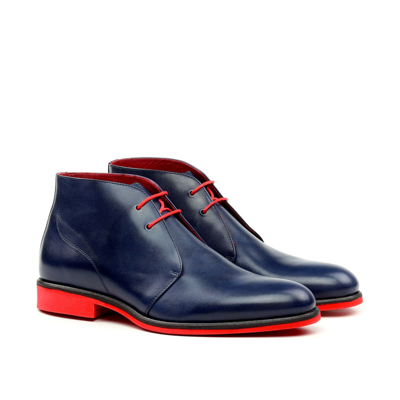 Unique Handcrafted Blue - Red Bottom Chukka Boot