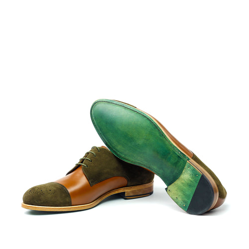 ALEXANDER - Unique Handcrafted Golden Brown/Green Seude Casual but not so Casual Derby Dress Shoes