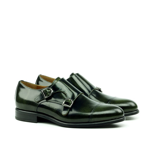 Unique Handcrafted Green Polished Calf Double Strap Monkstrap