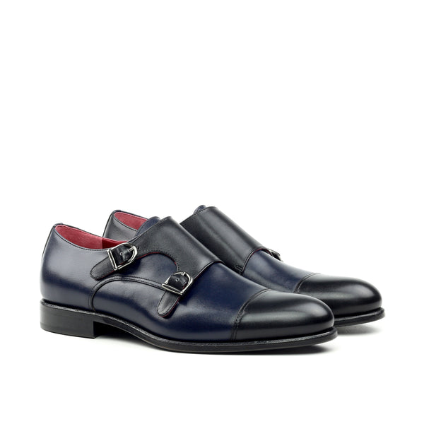 Unique Handcrafted Navy Blue Double Strap Monkstrap w/ Cap Toe
