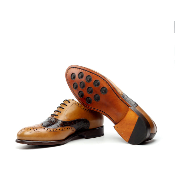CRASSUS - Unique Handcrafted Golden Brown Oxford Dress W/ Exotic Croc Highlights
