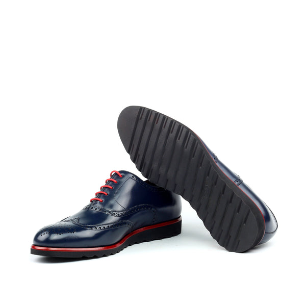 Unique Handcrafted Pebble Grain Navy Wingtip Oxford w/ Full Brogue Wedge Sole