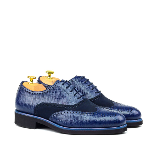Unique Handcrafted Pebble Grain Navy Wingtip Oxford w/ Full Brogue