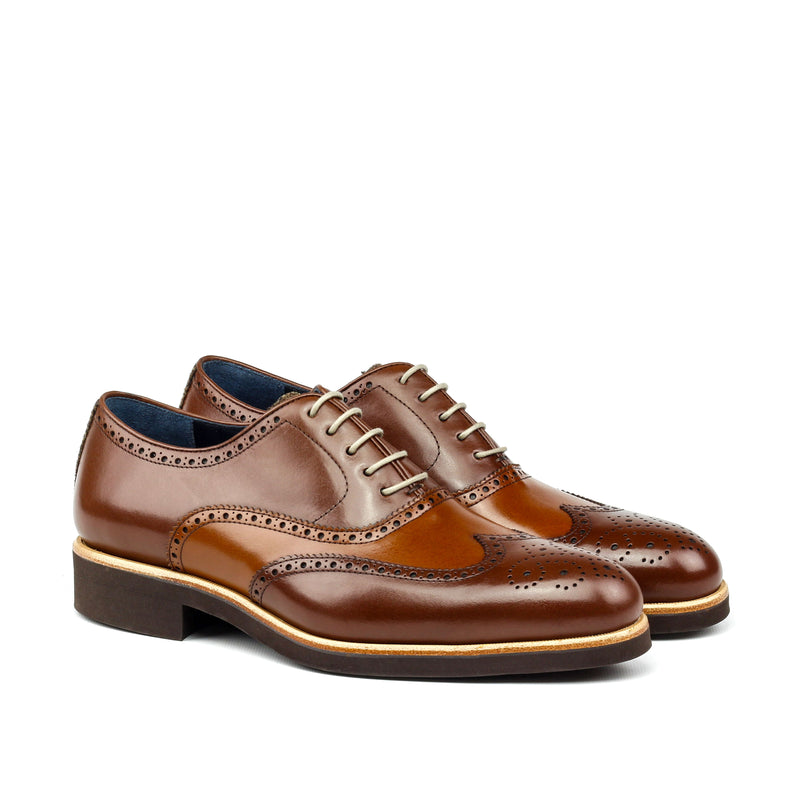 Augustus C - Unique Handcrafted Coffee Brown Brogue Classic Oxford W/ Brown Heeled Rubber Sole