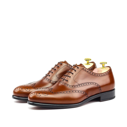 ALAN THE RED - Unique Handcrafted Cognac Brown Box Calf Wingtip Oxford w/ Full Brogue