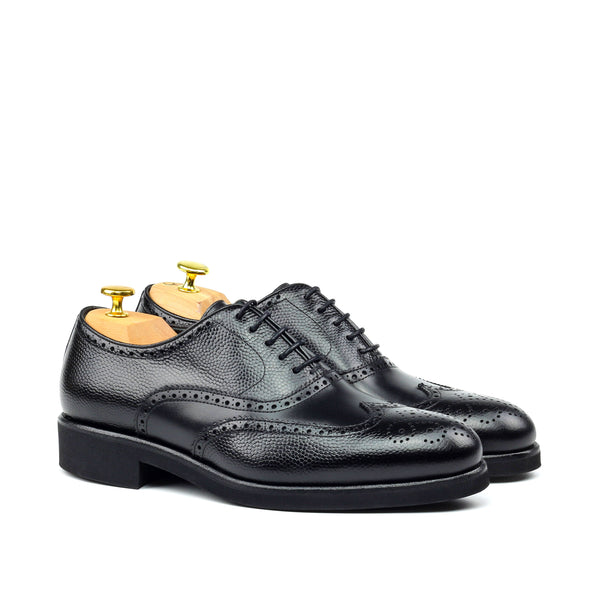 Unique Handcrafted Classic Black Box Calf Wingtip Oxford w/ Full Brogue